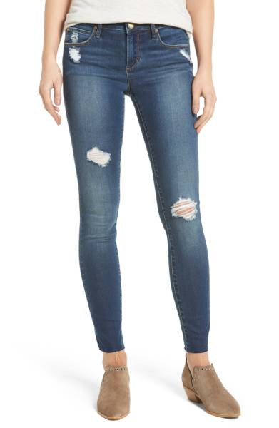 Sarah Skinny Jeans - Blue - Women's Bottom Wear - Blue Rugged Pant - Jolie Folie