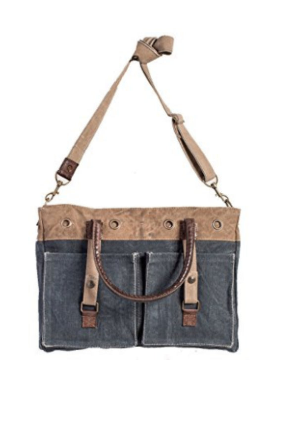 Riveted Upcycled Canvas Messenger Bag