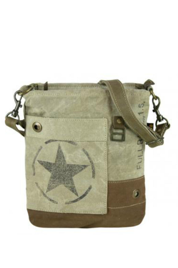 Sunsa Vintage Shoulder Bag of canvas with leather