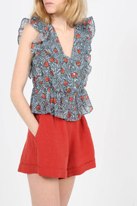 Blue Printed V-Neck Cotton And Silk Top | The Korner