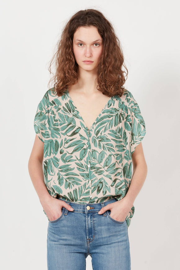 Green Printed Crepe V-Neck Top | The Korner
