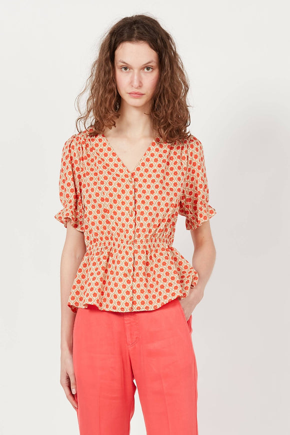 Red Printed V-Neck Top | The Korner
