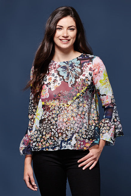Mixed Floral Georgette Top by Yumi | Floral Blouses | Jolie Folie