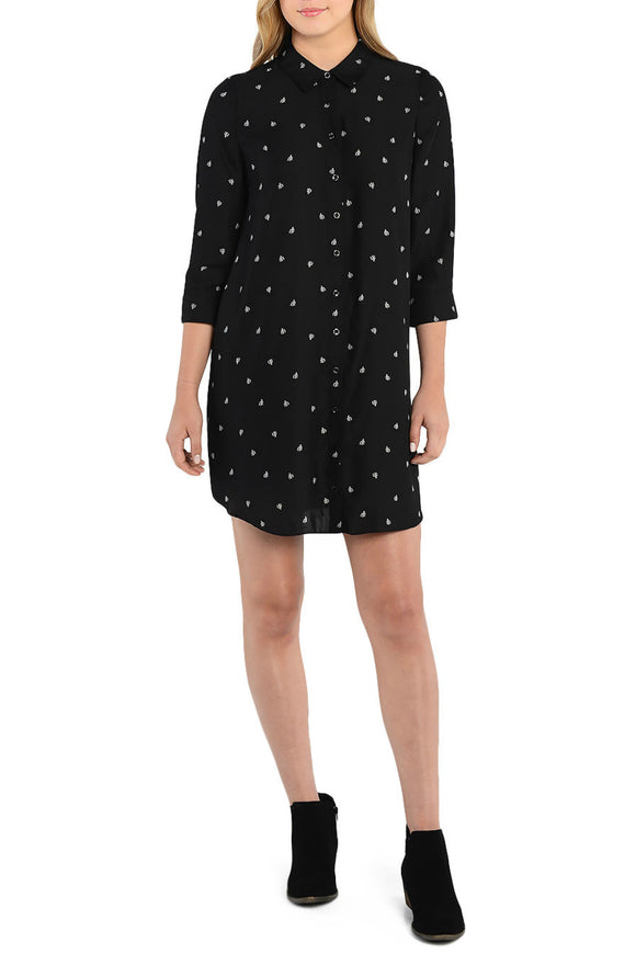 Mini Cacti Patterned Shirt Dress - Black combo - Women Tops & Tunics - By Kensie - Jolie Folie