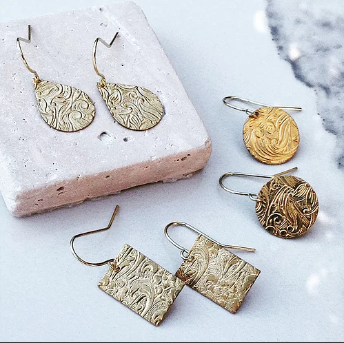 ODA - Patterned Brass Earrings | Frug