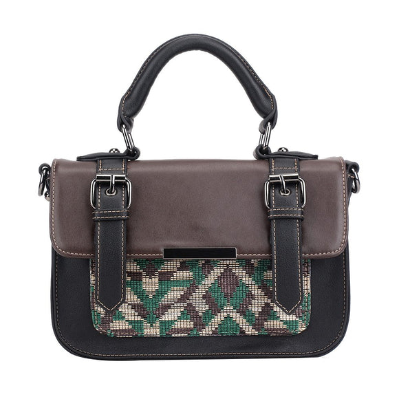 Mini Steph Satchel – Green Brown Woven