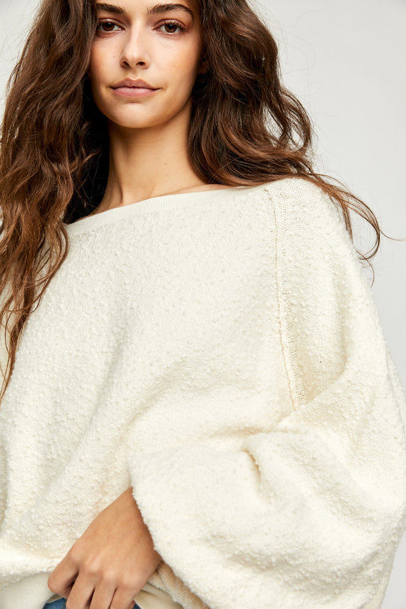 long sleeve cream sweater from free people