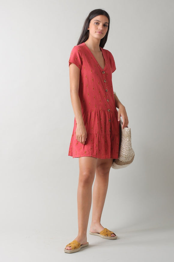 Combined Fabric Embroidered Dress - Cereza | Indi & Cold