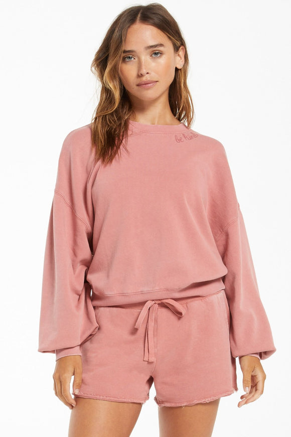 Lia Washed Pullover - Dusty Rose | Z Supply