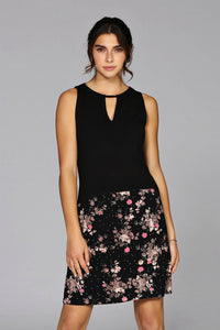 Schwiing, sleeveless floral dress that can be casual or office ready.