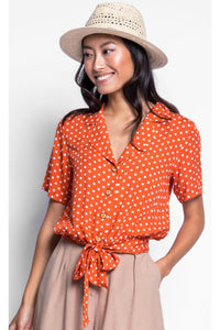 Polka dot orange blouse by pink martini