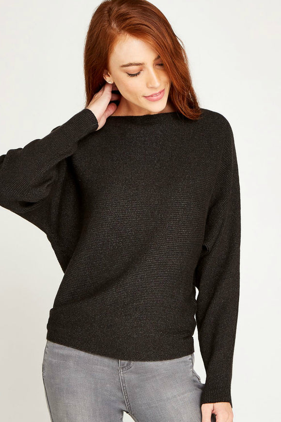 Ribbed Slash Neck Jumper |  Apricot