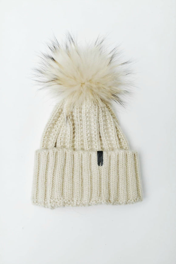 Beige Cable Knit Toque | Tom & Eva