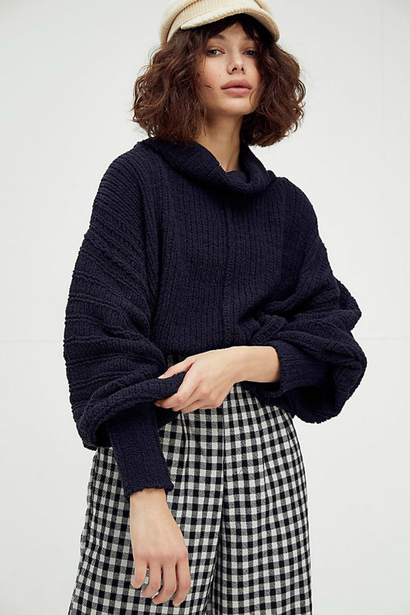 black knit oversize sweater by free people