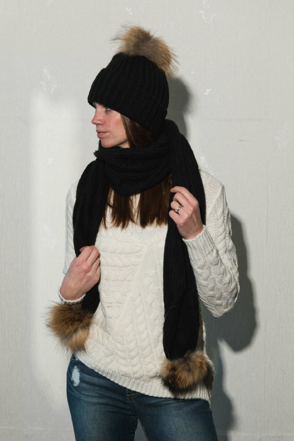 Ribbed Black Toque With Genuine Fur and Matching Scarf - Tom & Eva