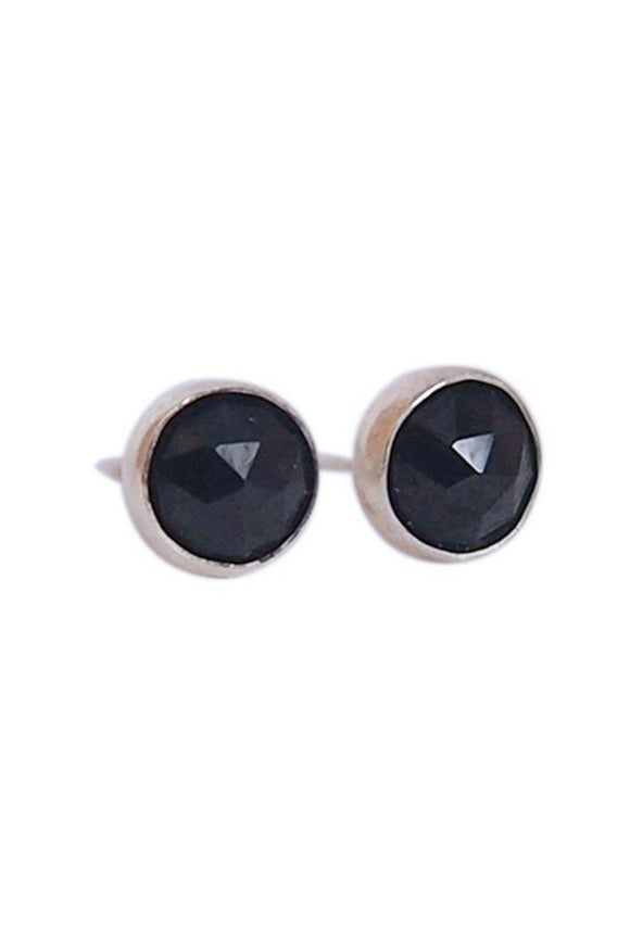 Gemstone Stud Earrings - Black Garnet | Strut