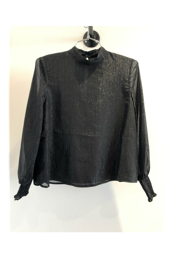 bb dakota black sheer blouse. Jolie folie boutique