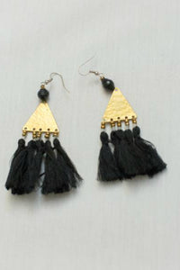 Brass and Tassel Black Earrings | Just One