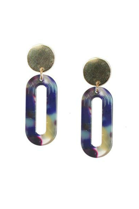 Blue Longline Oval Lucite Statement Earrings | Strut Jewelry