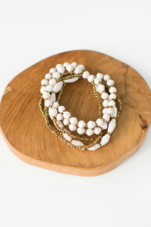 White Paper Bead Bracelet | Just One