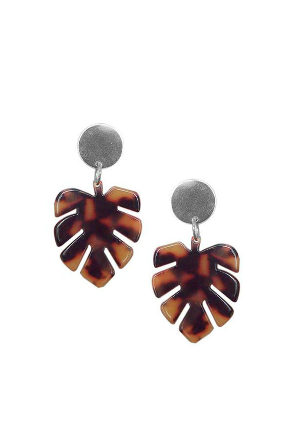 Monstera Leaf Statement Earrings - Tortoise Shell | Strut Jewelry