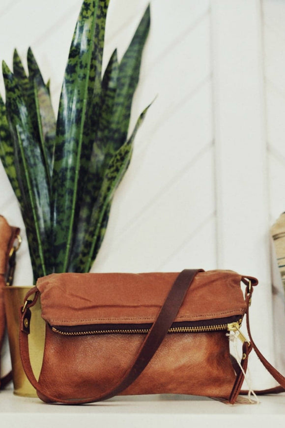 Waxed Canvas Crossbody - Brown | Grace Design