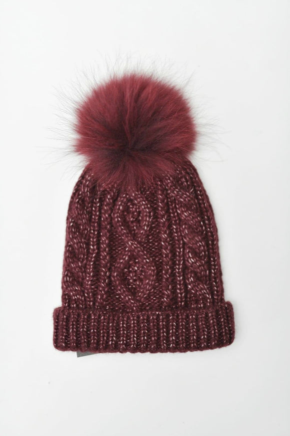 Burgundy Cable Knit Toque | Tom & Eva