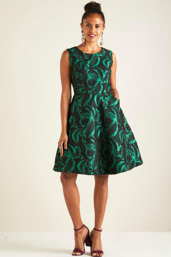 Burnout Floral Jacquard Dress | Yumi