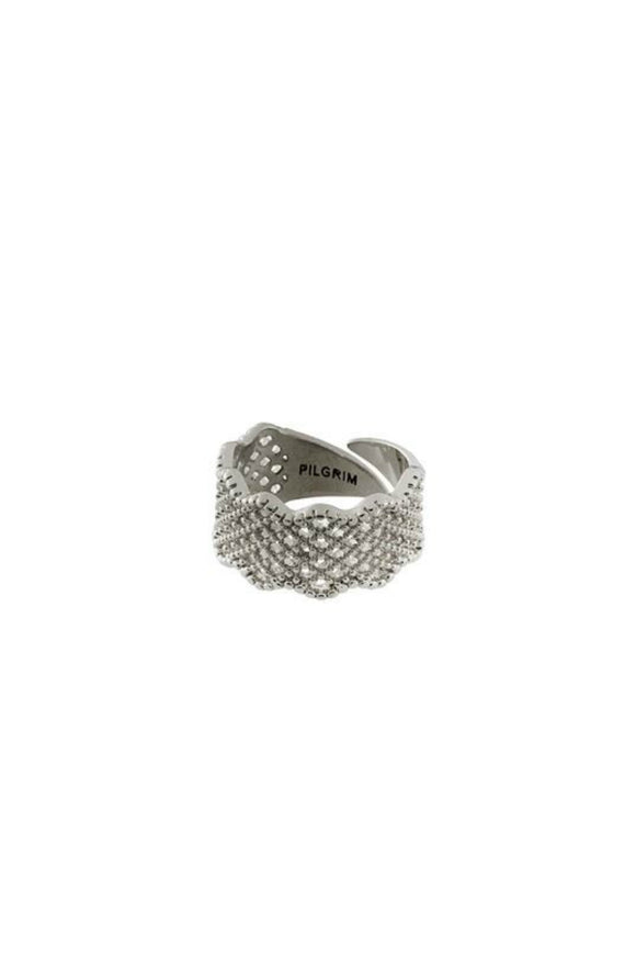 Cali silver pleated ring