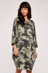 Green Camouflage Mini dress | Apricot
