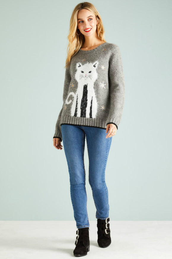 Sequin Embellished Cat Christmas Jumper | Yumi