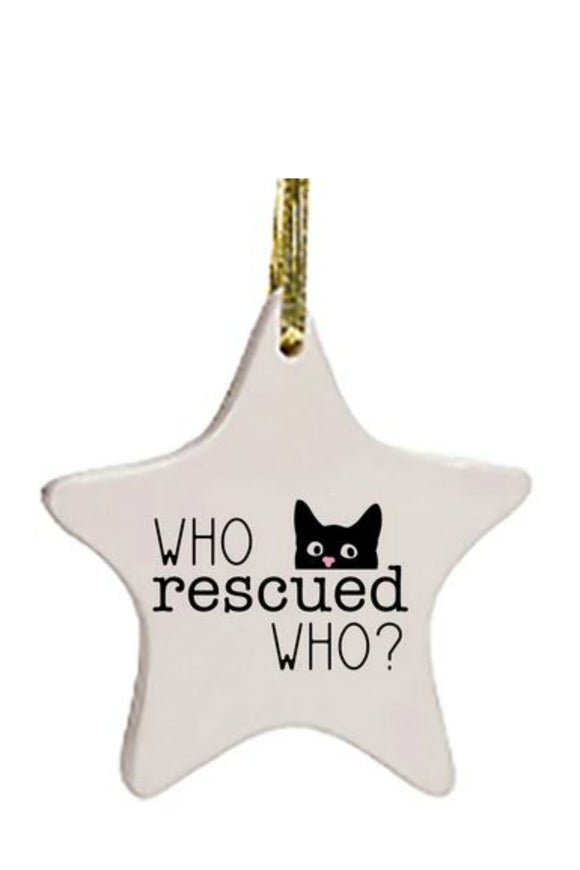 Ornament - Who Rescued Who - Cat | HelloGoodTime Inc.