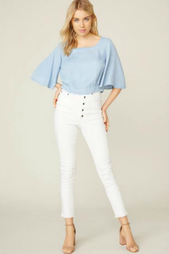 Chambray The Light Tie Back Blouse | BB Dakota