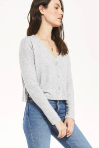long sleeve grey cardigan. Cher slub grey sweater
