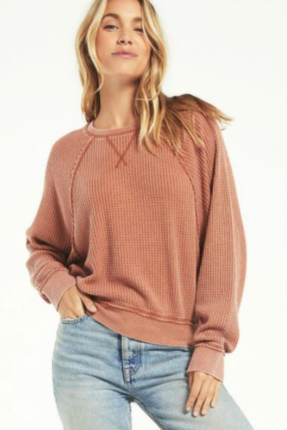 long sleeve waffle top by z supply