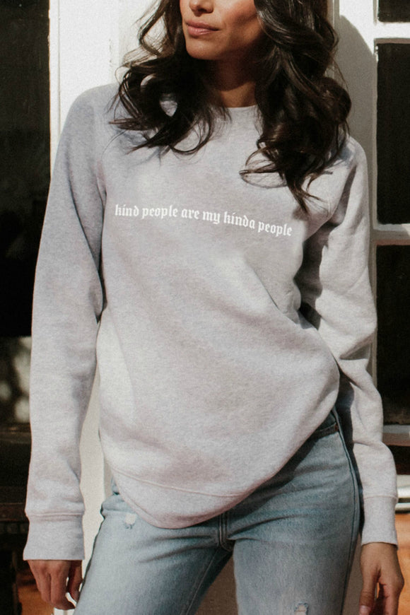 be kind collection. Women's grey sweatshirt by brunette the label