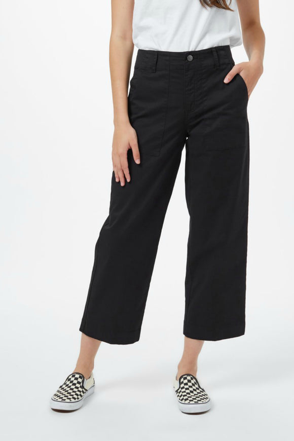 black twill crop pants from tentree
