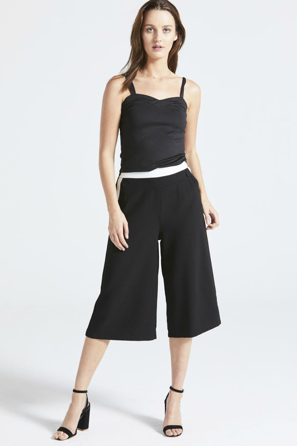 Black Culottes With Contrast Waist