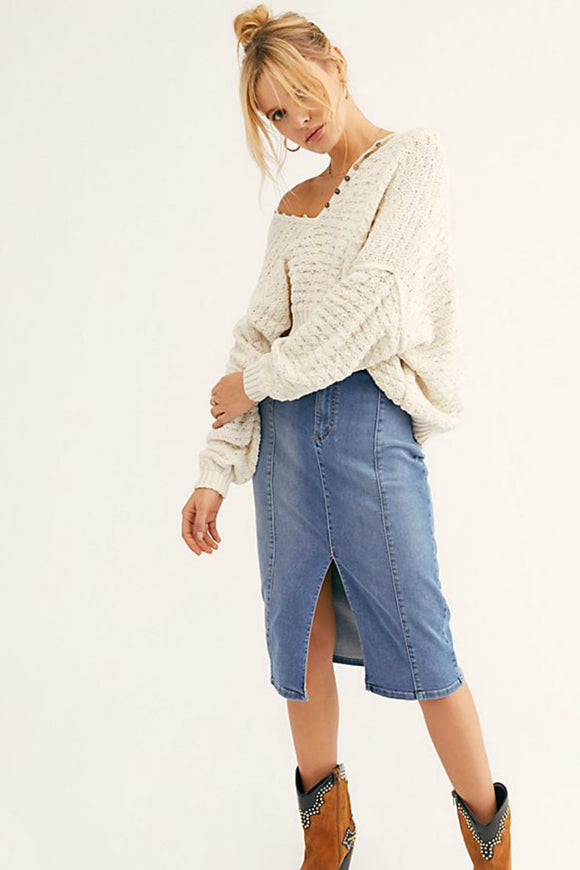 Maddie Denim Midi Skirt | Free People