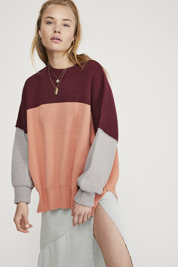 Free people easy street color block sweater. Jolie folie boutique