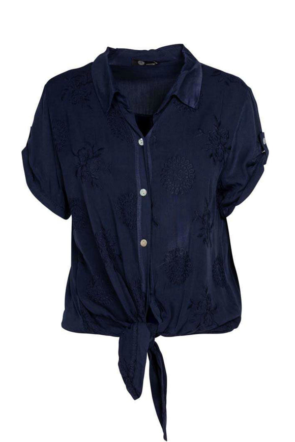 Embroidered Navy Blouse | M Italy