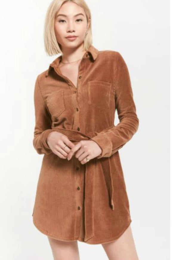 long sleeve brown cord dress by z supply