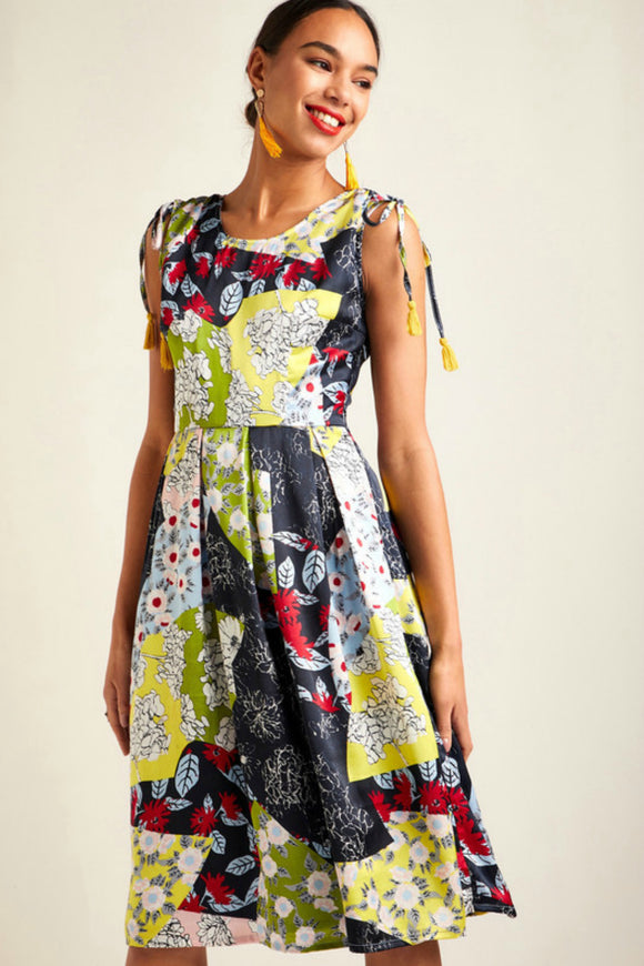 Multi Floral Patchwork Skater Dress | Yumi