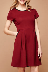 Fit and Flare Textured Ponte Dress- Dresses for Women -Red Color Dress By Yumi - Jolie Folie