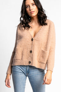 Pink martini fluffy buttonned sweater. Jolie folie boutique