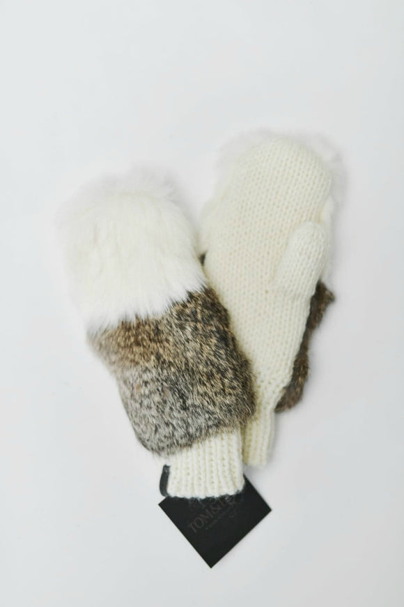 Beige Fur Mitts | Tom & Eva