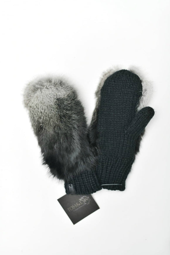 Black Fur Mitts | Tom & Eva