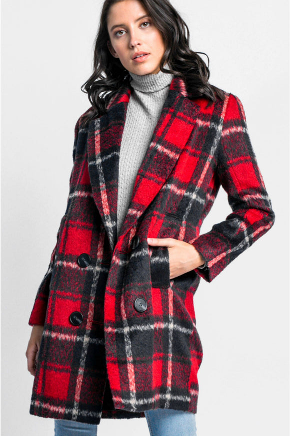 Pink martini garnet plaid coat. Jolie folie boutique