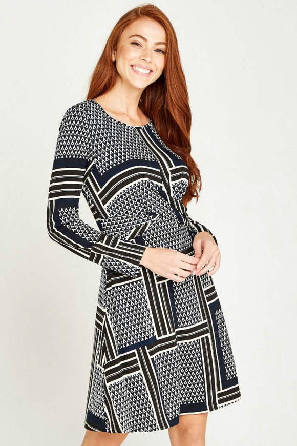 Geo Patchwork Knot Dress | Apricot
