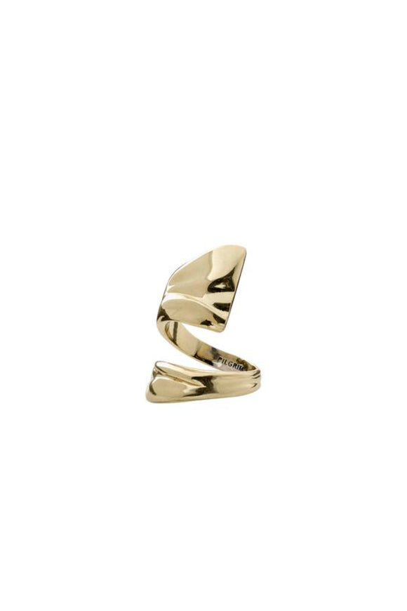 gold pleated ring by pilgrim